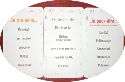 "exemple de cartes : ""Emotions"", ""Besoins"", ""Forces & Vertus"""