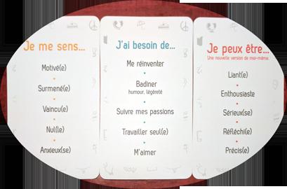 """exemple de cartes : """"Emotions"""", """"Besoins"""", """"Forces & Vertus"""""""
